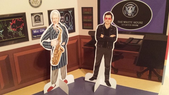 Meanwhile in the Situation Room, Bill was entertaining political adviser Bono with a few tunes on the Sax.